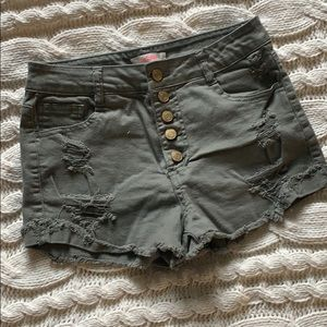 Army Green High Waisted Shorts